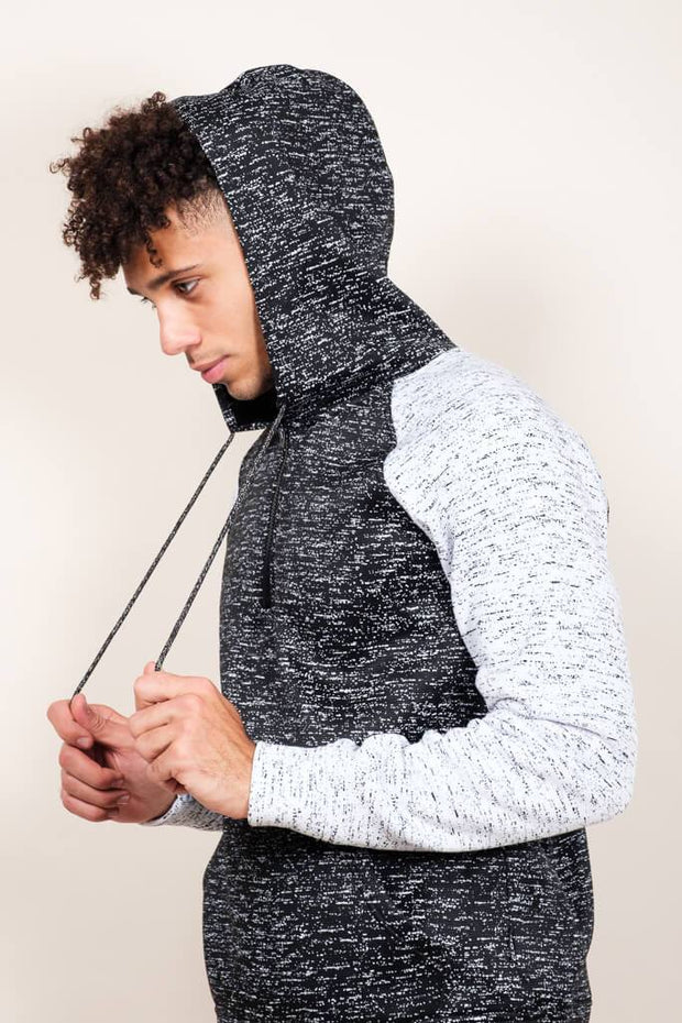 Men's Black Space Dye Cozy Raglan Hoodie