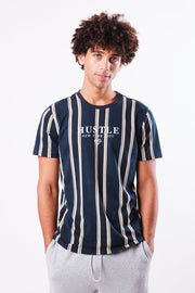 Hustle Navy Print Vertical Stripe Tee
