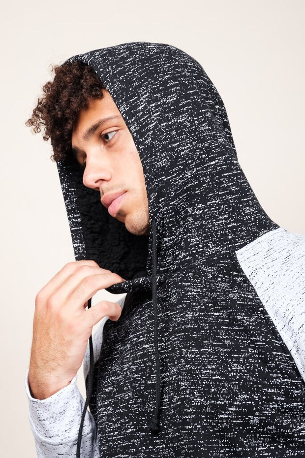 Black Sherpa Lined Space Dye Hoodie for Men