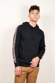 Black New York Stripe Sleeve Hoodie