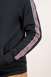 Black New York Stripe Sleeve Hoodie for Men