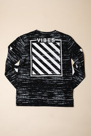 Boys Black Vibes Long Sleeve Tee at Brooklyn Cloth
