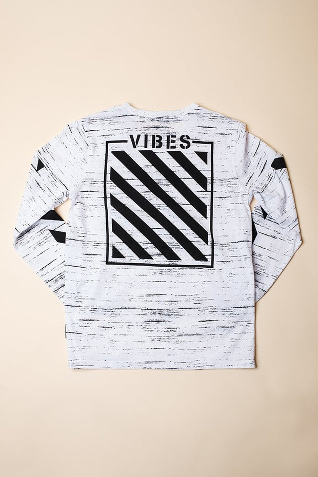 Brooklyn Cloth Boys White Vibes Long Sleeve Tee