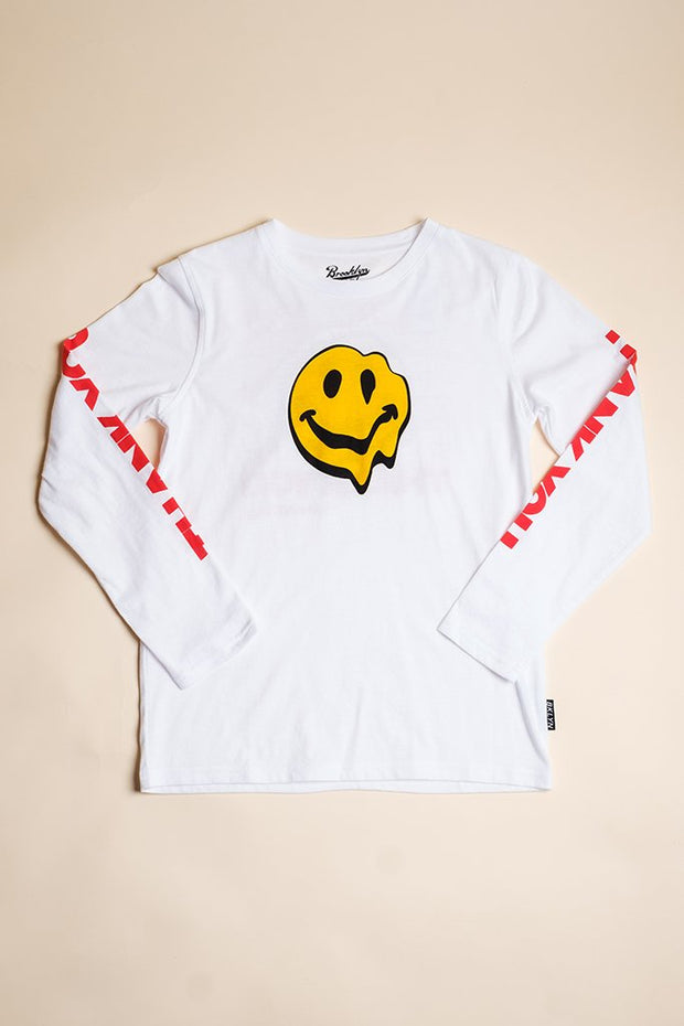 Boys White Smiley Face Long Sleeve Tee