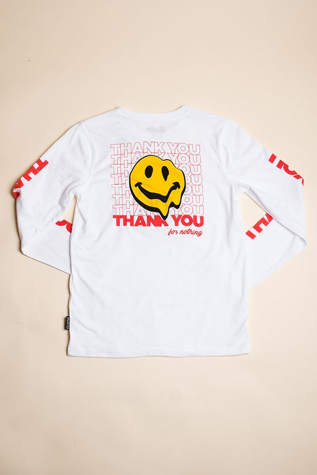 Brooklyn Cloth Boys White Smiley Face Long Sleeve Tee