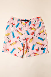 Pink Tiki Drink Swim Trunks