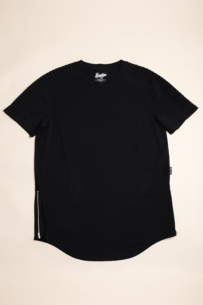 Black Moto Side Zipper Tee