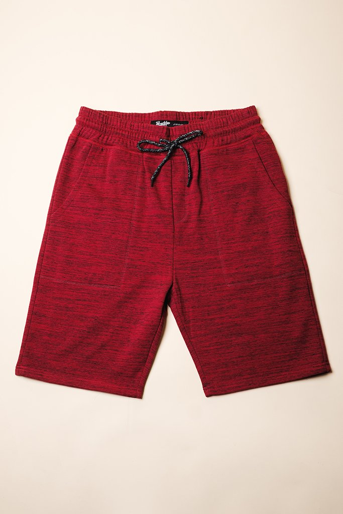 Burgundy Yarn Dye Space Dye French Terry Jogger Shorts