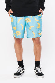 Blue Banana Print Swim Trunks