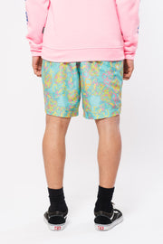 Neon Pineapple Print Swim Trunks