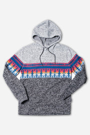 Light Grey Outdoor Stripe Cozy Fleece Hoodie