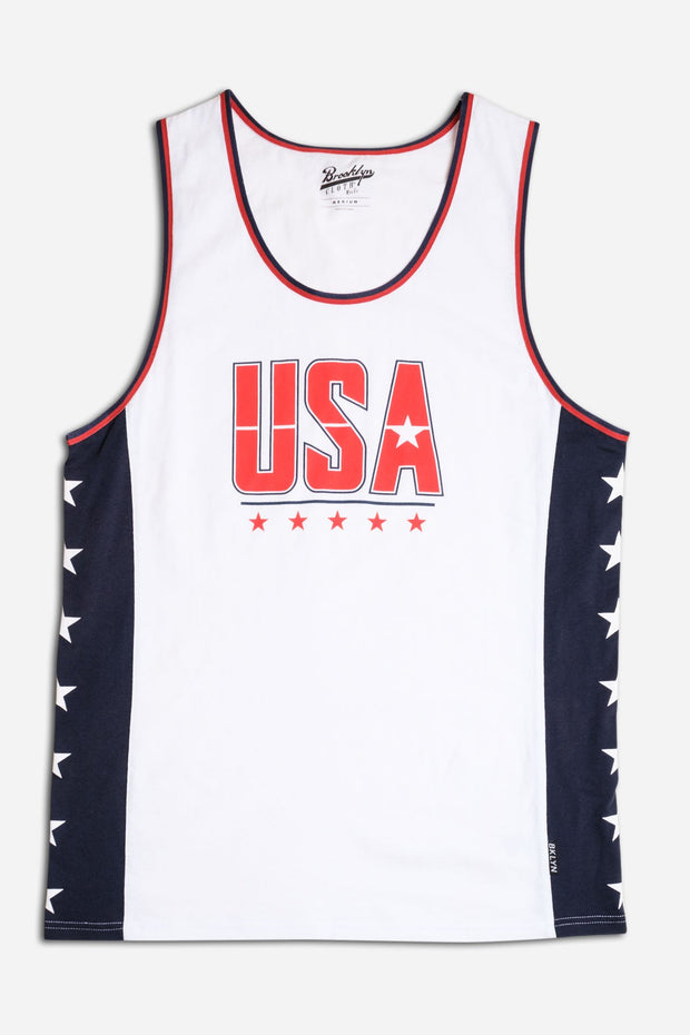 White USA Stars Jersey Tank Top
