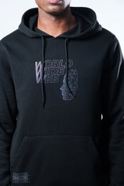 Black World Wide Web Iridescent Hoodie