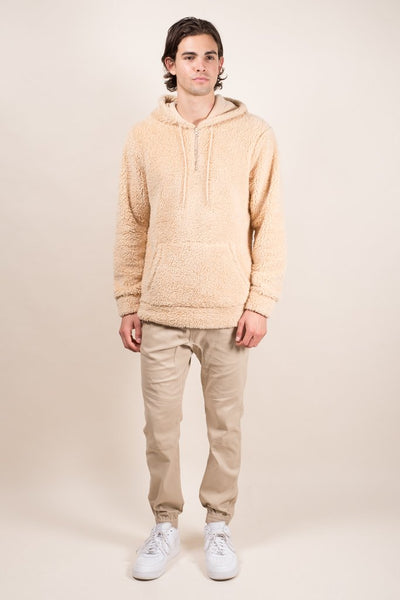 Brooklyn Cloth Biscuit Quarter Zip Sherpa Hoodie