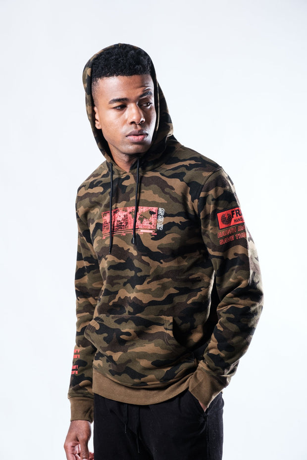 Red Graphic Camo Hoodie for men