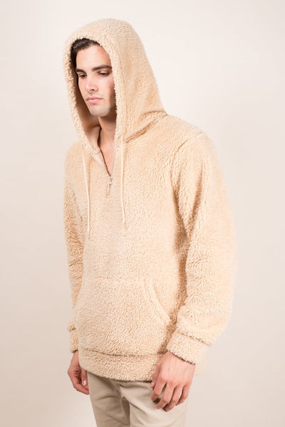 Biscuit Quarter Zip Sherpa Hoodie for Men