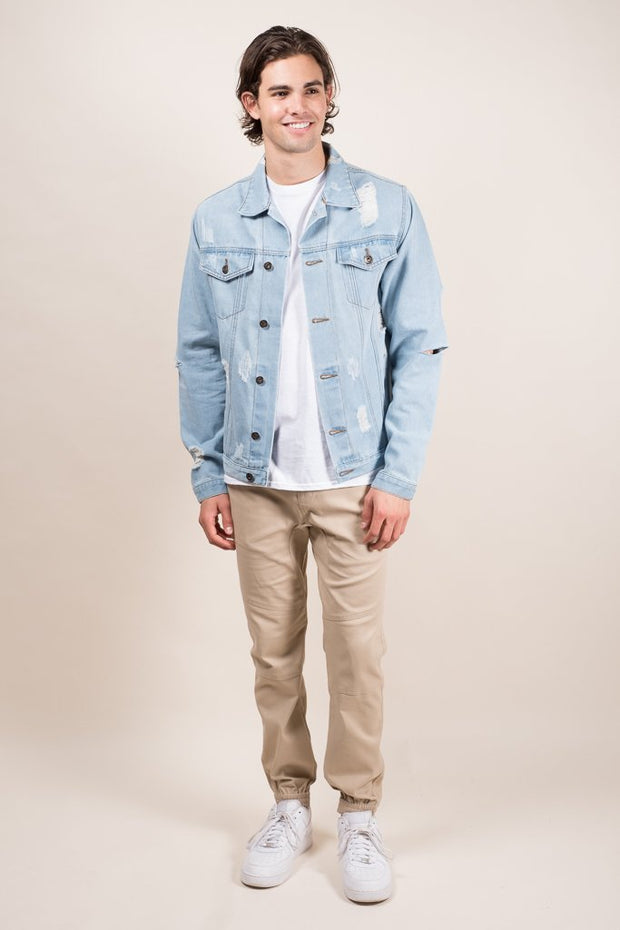 Brooklyn Cloth Distressed Denim Trucker Jacket for Men