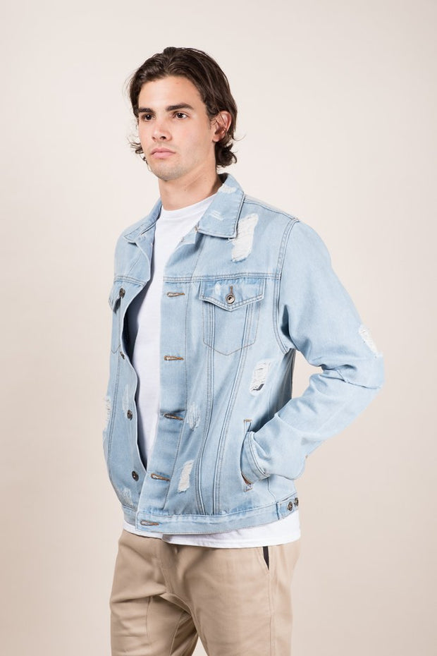 Distressed Denim Trucker Jacket for Men