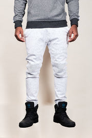 White Space Dye Moto Twill Jogger Pants