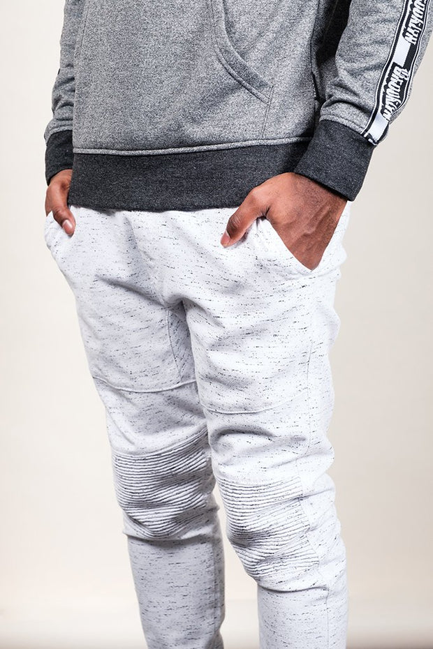 White Space Dye Moto Twill Jogger Pants for Men