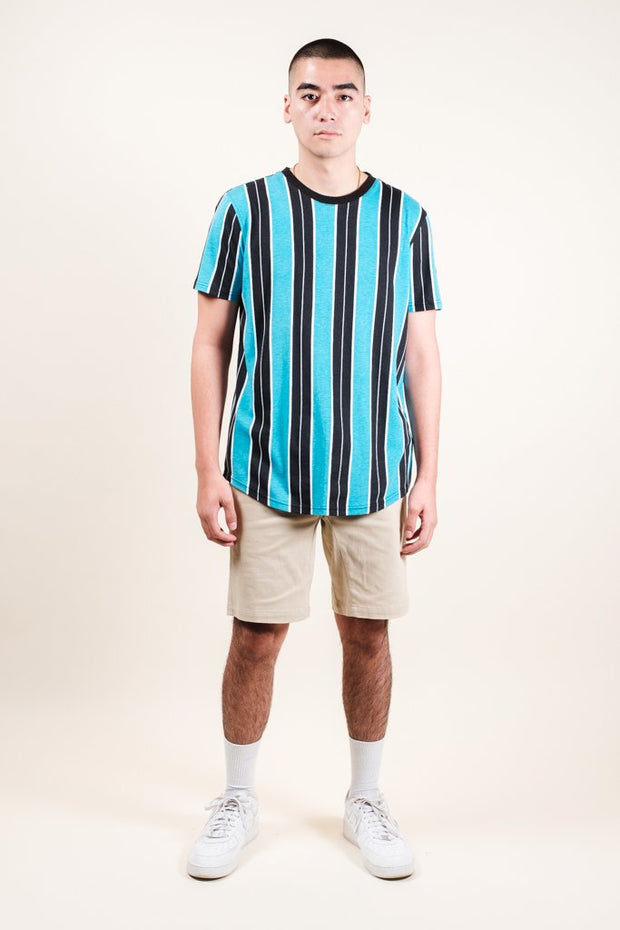 Brooklyn Cloth Teal Printed Vertical Stripe Tee for Men