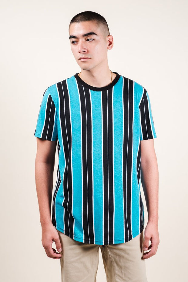 Teal Printed Vertical Stripe Tee for Men