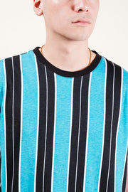 Teal Printed Vertical Stripe Tee