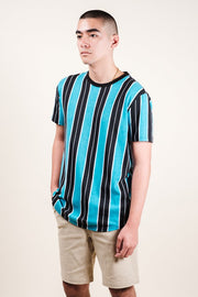 Men's Teal Printed Vertical Stripe Tee