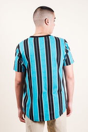 Brooklyn Cloth Teal Printed Vertical Stripe Tee