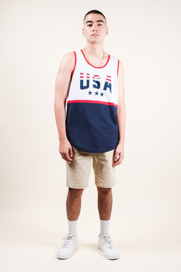 Brooklyn Cloth White USA Print Air Mesh Tank Top for Men