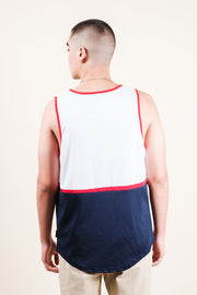 Men's White USA Print Air Mesh Tank Top
