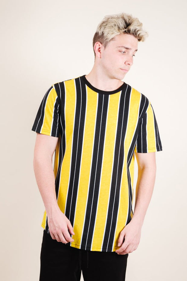 Gold Printed Vertical Stripe Tee for Men