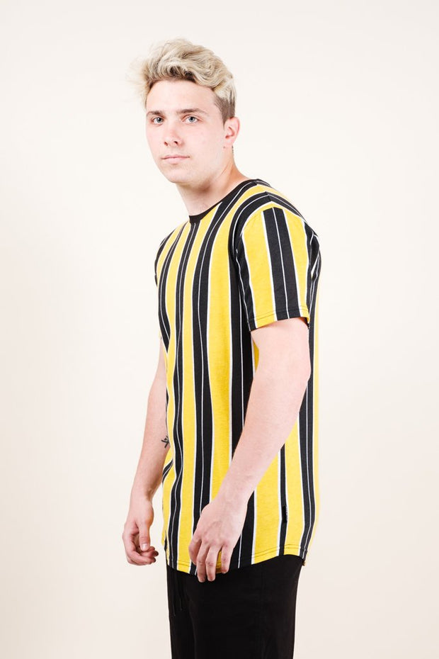 Men's Gold Printed Vertical Stripe Tee