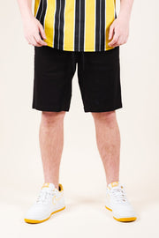Black Twill Jogger Shorts for Men