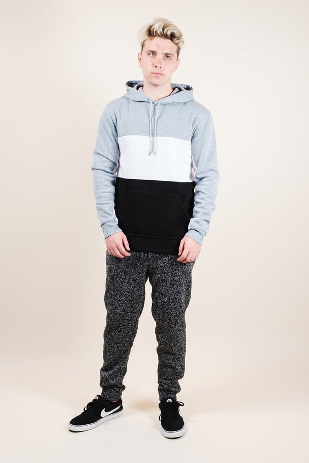 Brooklyn Cloth Grey Color Blocked Hoodie for Men