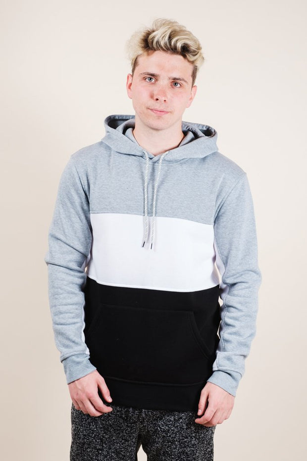 Grey Color Blocked Hoodie for Men