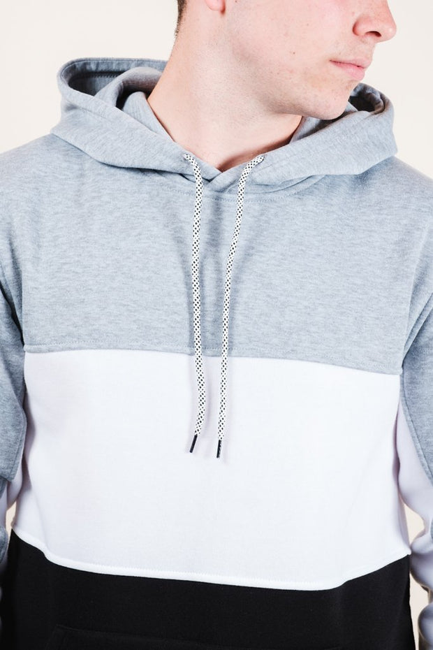 Grey Color Blocked Hoodie