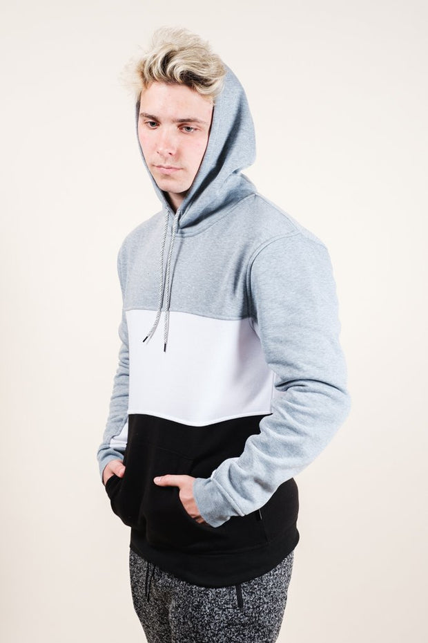 Men's Grey Color Blocked Hoodie