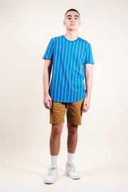 Brooklyn Cloth Blue Vertical Stripe Tee for men