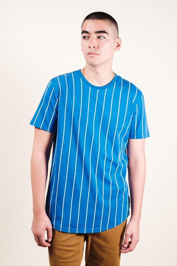 Blue Vertical Stripe Tee for men
