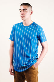 Men's Blue Vertical Stripe Tee