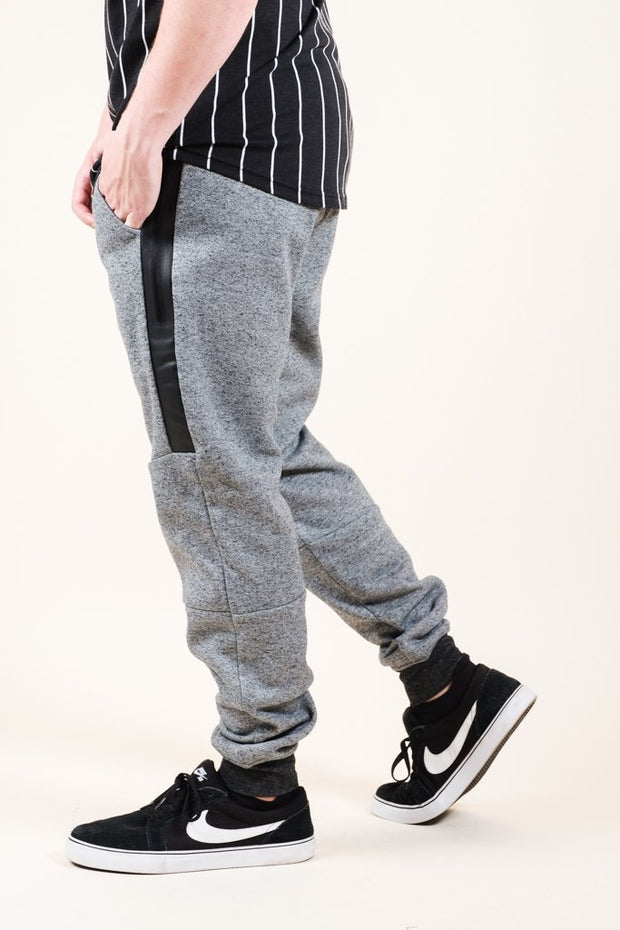 Black Marl Heat Seal Zip Jogger Pants