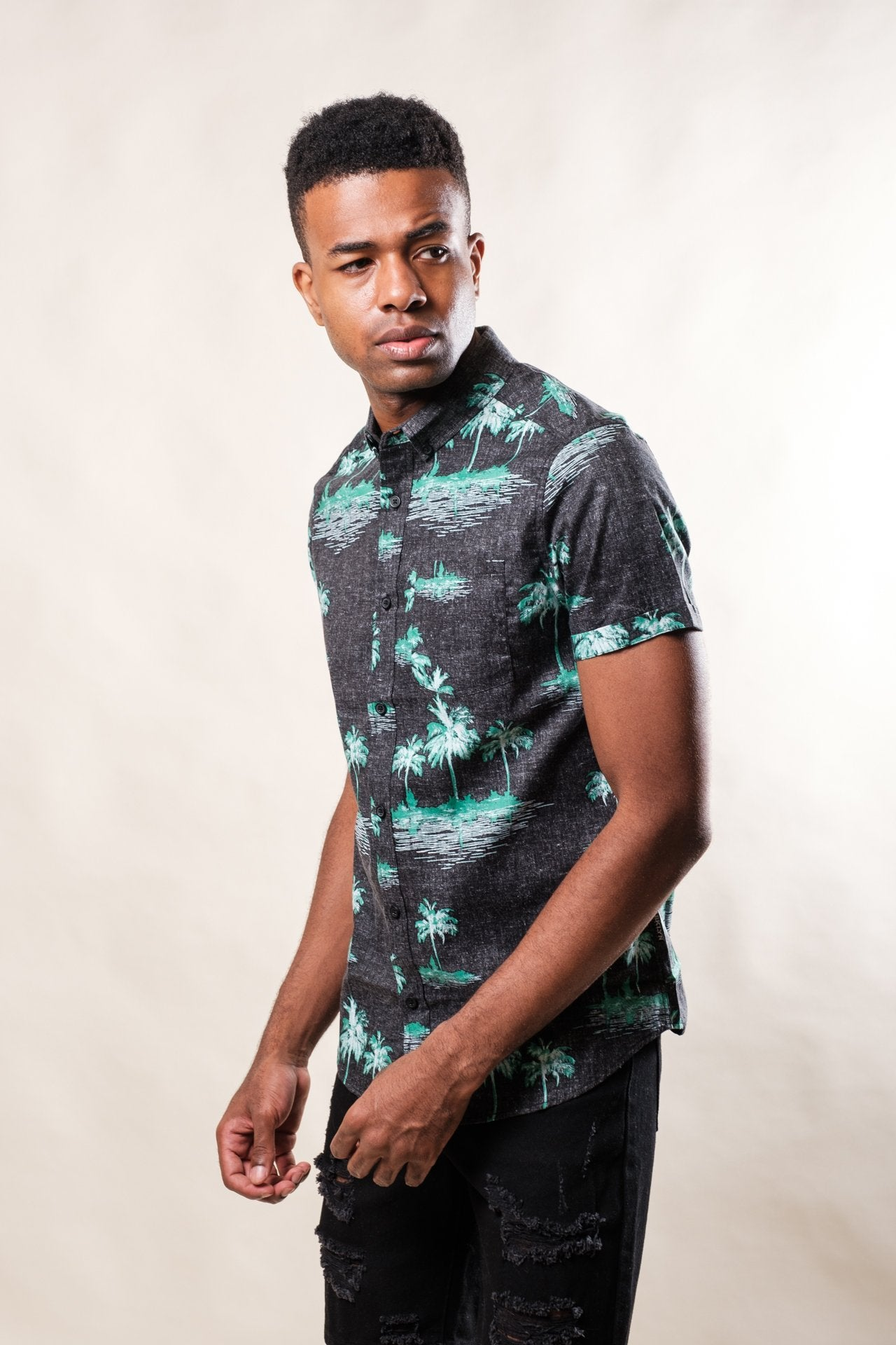 Black Palm Tree Woven Shirt