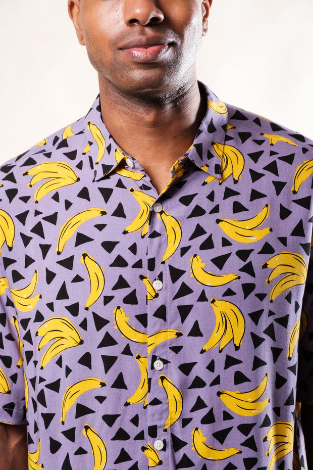 Purple Banana Print Woven Shirt for Men