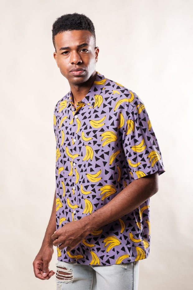 Purple Banana Print Woven Shirt
