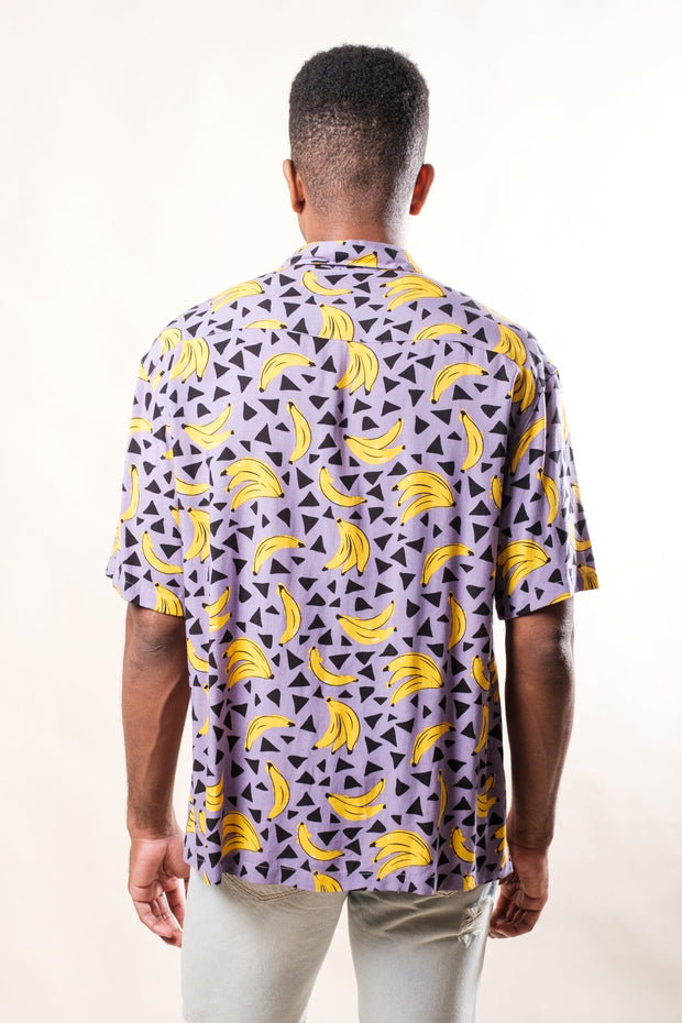 Men's Purple Banana Print Woven Shirt