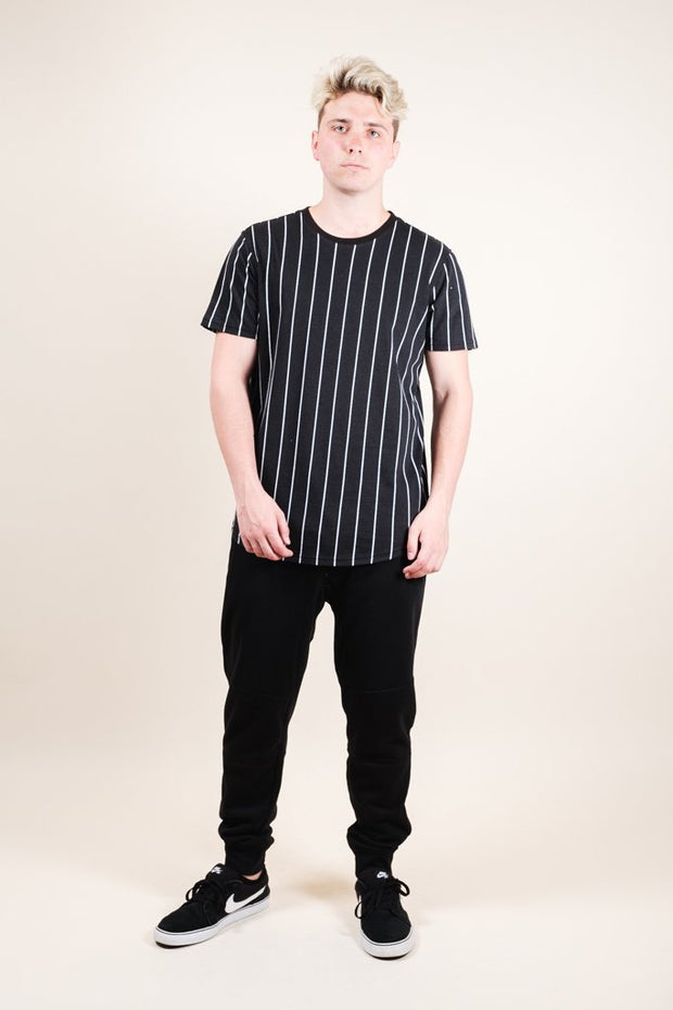 Brooklyn Cloth Black Vertical Stripe Tee for Men