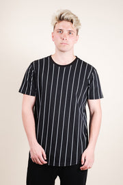 Black Vertical Stripe Tee for Men