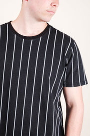 Black Vertical Stripe Tee