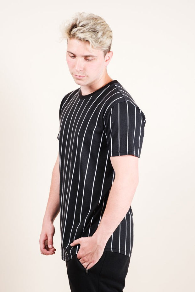 Men's Black Vertical Stripe Tee